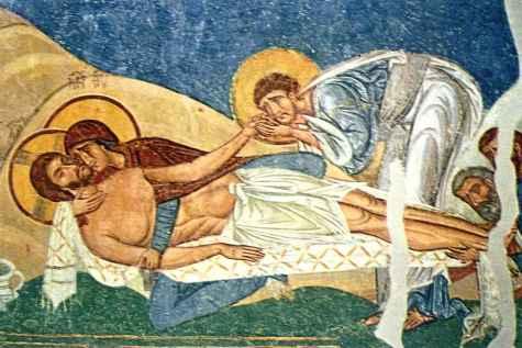 Column「嘆きの聖母」のビザンチン・ブルー(聖パンテレイモン教会)